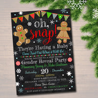 Gender Reveal Party Invitation, Christmas Invite, Cookie Baby Shower, What the Elf is it Going to Be, Oh Snap!,