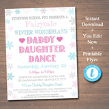 EDITABLE Daddy Daughter Dance Fairytale School Dance Flyer Invite, Winter Wonderland Event Valentines Day Dance, pto pta, INSTANT DOWNLOAD