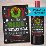 EDITABLE Teacher Gift, Christmas Wine Label INSTANT DOWNLOAD, Printable Teacher Appreciation, Holiday Teacher Wine Label, Gift From Student