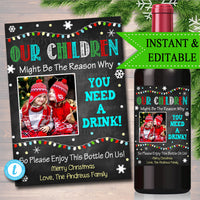 Christmas Teacher Gift End of School Year Wine Label , Teacher Appreciation Printable Wine Label, Gift From Student