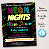 Glow Dance Set School Dance Flyer Party Invite, Church Community Event, Neon Nights High School Dance, pto pta,