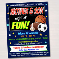Mother Son School Dance Set, Dance Flyer Party Sports Night Invitation, Fundraiser Church Community Event pto pta,