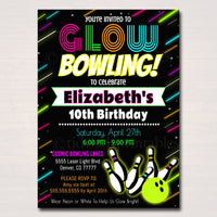 Glow Bowling Birthday Invitation, Cosmic Bowl Neon Invite Birthday  Invite Gow in Dark Thank You Party Tags