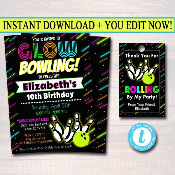 EDITABLE Glow Bowling Birthday Invitation, Cosmic Bowl Neon Invite Birthday Digital Invite Gow in Dark Thank You Party Tags INSTANT DOWNLOAD