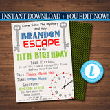 EDITABLE Escape Room Birthday Invitation, Boy Mystery Clue Spy Birthday Digital Detective Invite, Escape Chamber Party, INSTANT DOWNLOAD