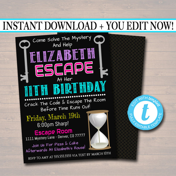 image relating to Spy Party Invitations Printable Free identify EDITABLE Escape Space Birthday Invitation, Female Top secret Clue Spy Birthday Electronic Detective Invite, Escape Chamber Social gathering, Prompt Obtain