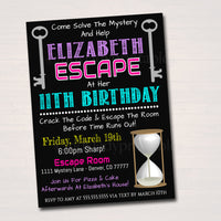 EDITABLE Escape Room Birthday Invitation, Girl Mystery Clue Spy Birthday Digital Detective Invite, Escape Chamber Party, INSTANT DOWNLOAD