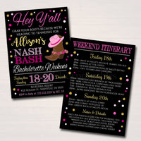 Nashville Tennessee Bachelorette Party Invitation, Nash Bash Party Invite, Cowgirl Boots Country Weekend Itinerary