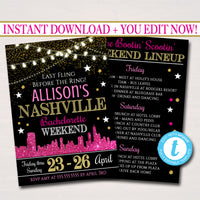 Nashville Tennessee Bachelorette Party Invitation, Nash Bash Party Invite, City Skyline Country Weekend Itinerary