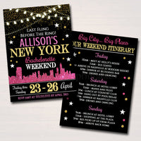 New York City Bachelorette Party Invitation, Glitter Pink Gold Party Invite, City Skyline, Girls Weekend Itinerary