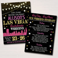 Las Vegas City Bachelorette Party Invitation, Glitter Pink Gold Party Invite City Skyline, Girls Weekend Itinerary