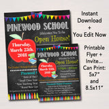School Open House Flyer & Invite - Printable DIY Template
