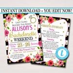 EDITABLE Bachelorette Party Invitation With Itinerary, Girls Weekend Party Invite, Watercolor Floral, Gold Glitter Stripes, INSTANT DOWNLOAD