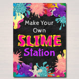 Slime Party Birthday Sign, Mad Scientist Kids Party, Make Your Own Slime Station Digital Sign, Girl's Slime Party Decor, INSTANT DOWNLOAD