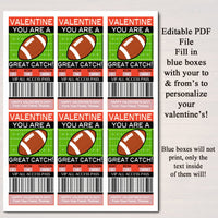EDITABLE Football Ticket Valentine's Day Cards, INSTANT DOWNLOAD, Printable Kids Valentine, Boy Classroom Valentine, You're a Great Catch