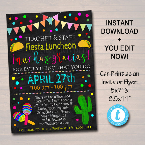 Editable Fiesta Invite Teacher Appreciation Staff Invitation Chalkboard Printable Appreciation Week Invite, Luncheon Flyer, INSTANT DOWNLOAD
