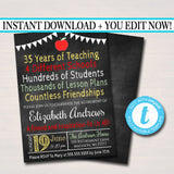 Editable Teacher Retirement Invitation Chalkboard Printable Digital Teacher Invite Retirement Party, Personalized Teacher Career Stats