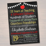 Teacher Retirement Invitation Chalkboard Printable  Teacher Invite Retirement Party, Personalized Teacher Career Stats