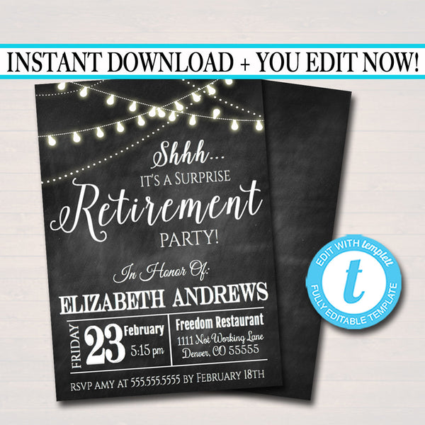 Editable Surprise Retirement Invitation Chalkboard Printable Digital Teacher, Nurse, Invite Retirement Party String Lights, INSTANT DOWNLOAD