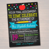 Teacher Retirement Invitation Chalkboard Printable  Teacher Invite Retirement Party, School's out Forever, Final Assignment