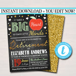 Editable Teacher Retirement Invitation Chalkboard Printable Digital Teacher Invite Retirement Party, Takes a Big Heart to Teach Little Minds