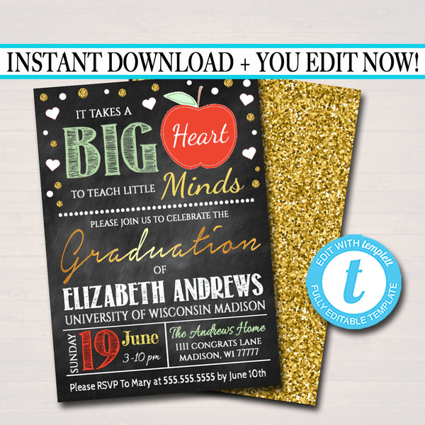 Editable Teacher Graduation Invitation, Chalkboard Printable, College Graduate, Apple Invite, Education Teacher Graduate INSTANT DOWNLOAD