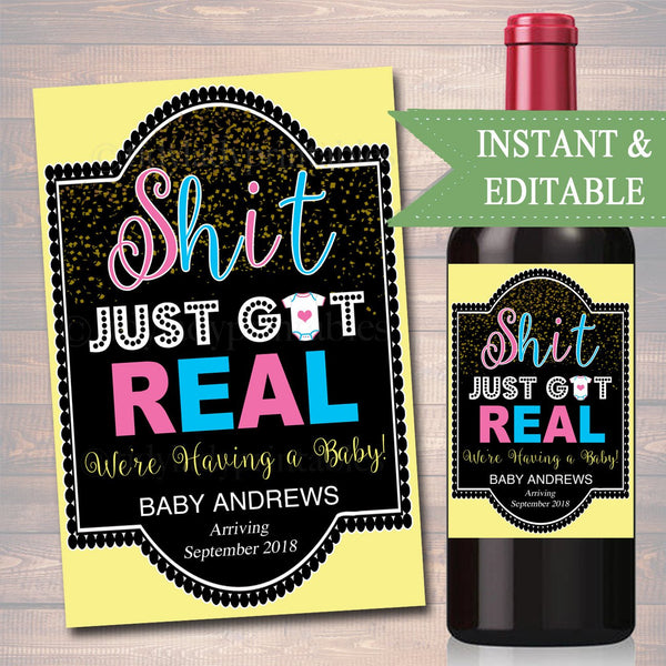 EDITABLE Pregnancy Announcement Wine Label, Pregnancy Printable Wine Label Gender Reveal, Team Pink Blue Shit Just Got Real INSTANT DOWNLOAD