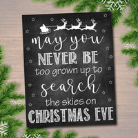 Printable May You Never Be Too Grown Up To Search The Skies on Christmas Eve, Christmas Decor Wall Art, INSTANT DOWNLOAD, Xmas Decoration