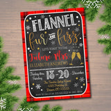 Flannel Fur & Fizz Xmas Bachelorette Party Invitation, Christmas Party Invite, Girls Winter Weekend Invitation,