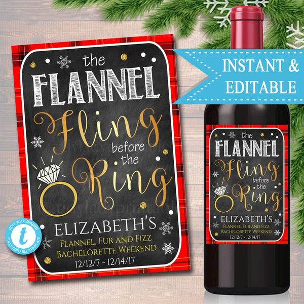 EDITABLE Flannel Fur & Fizz Xmas Bachelorette Party Wine Label, Girls Winter Weekend, Last Flannel Fling Before the Ring, INSTANT DOWNLOAD
