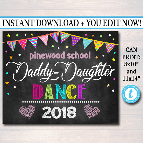 EDITABLE Daddy Daughter Dance Photo Prop Sign, Printable Chalkboard, Photo Booth Props, Pro Pta, Fundraiser Church School Event Sign Prop