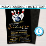 Bowling Graduation Invitation, Chalkboard Printable, College Graduate, Grad Party Invite, High School Senior Party