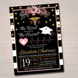 Nurse Graduation Invitation Floral Printable, Female College Graduate Grad Party Invite RN Nursing School Graduate