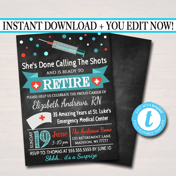 Nurse Retirement Invitation Chalkboard Printable  Teacher Invite Retirement Party, RN Doctor Personalized Nurse Career Stats