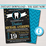 Editable Dentist Graduation Invitation, Chalkboard Printable, Medical College Graduate, Dental School Grad Party Invite, INSTANT DOWNLOAD