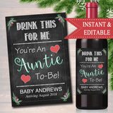 Drink This For Me You're An Auntie To Be, Digital Wine Label Pregnancy Announcement, New Aunt Gift, Sister Promoted Xmas Pregnancy Reveal