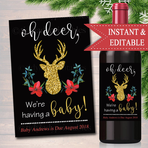 EDITABLE Wine Label Christmas Pregnancy Announcement, Printable Holiday Wine Label Pregancy Reveal, Xmas Oh Deer Having a Baby Grandparents
