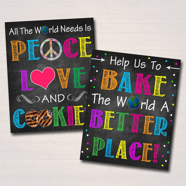 Printable Cookie Booth Sign Set, Bake the World a Better Place, Peace Love and Cookies, Digital Cookie Donate Drop Banner INSTANT DOWNLOAD