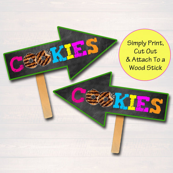 image relating to Printable Arrow Signs called Cookie Booth Arrow Signs or symptoms, Conclusion Cookies Offered Right here, Printable Cookie Reduce Banner, Cookie Booth Product sales Poster, Quick Down load Fundraiser Booth
