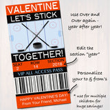 EDITABLE Hockey Ticket Valentine's Day Cards, INSTANT DOWNLOAD Printable Kids Sports Valentine Boy Classroom Valentine, Let's Stick Together