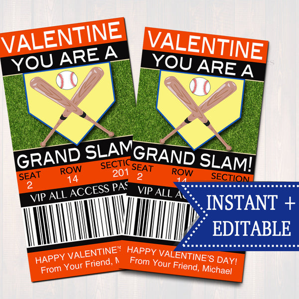EDITABLE Baseball Ticket Valentine's Day Cards, INSTANT DOWNLOAD, Printable Sports Valentine, Boy Classroom Valentine, You're a Grand Slam