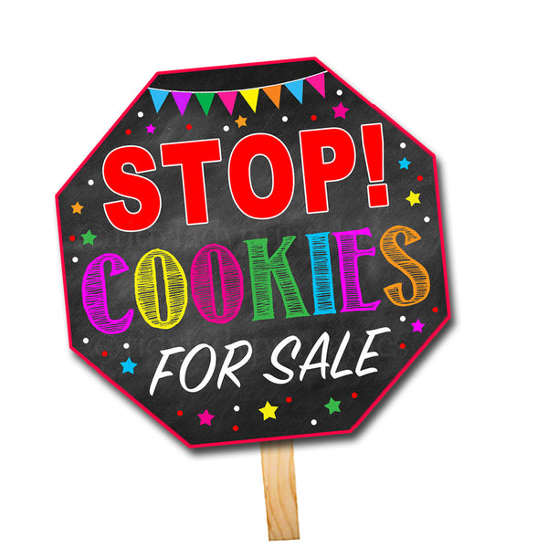 Cookie Booth Stop Sign, Stop Cookies Sold Here, Printable Cookie Drop Banner, Cookie Booth Sales Poster, INSTANT DOWNLOAD Fundraiser Booth