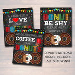 Donuts With Dad Sign Set Thank You Tags, Printable PTA Flyer, Father's Day Event, School Dad Appreciation Fundraiser Digital Invitation