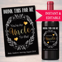 Drink This For Me You're An Uncle To Be Digital Wine Label Pregnancy Announcement, New Uncle Gift Brother Promoted to Uncle Pregnancy Reveal