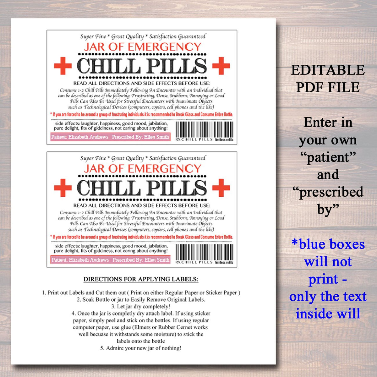 image relating to Chill Pill Printable Labels titled EDITABLE Chill Supplements Label, Humorous Gag Present Proficient Business office Present, Xmas Present, Birthday Reward, Manager Reward, Cowork Present Printable Label