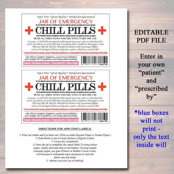 photograph relating to Chill Pill Label Printable named EDITABLE Chill Capsules Label, Humorous Gag Present Proficient Workplace Reward, Xmas Present, Birthday Reward, Manager Present, Cowork Present Printable Label