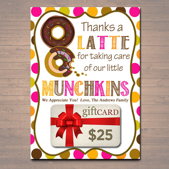 graphic about Thanks a Latte Printable Tag titled EDITABLE Due a Latte Espresso Donut Present Card Holder, Printable Instructor Appreciation, Daycare Trainer Reward Babysitter Reward Instantaneous Down load