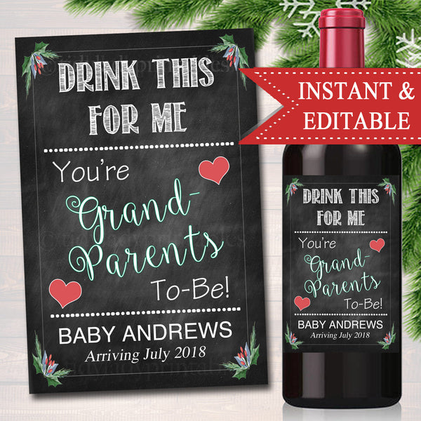 Drink This For Me You're Grandparents to Be Beer & Wine Label Pregnancy Announcement INSTANT and EDITABLE, Parents Promoted Pregnancy Reveal