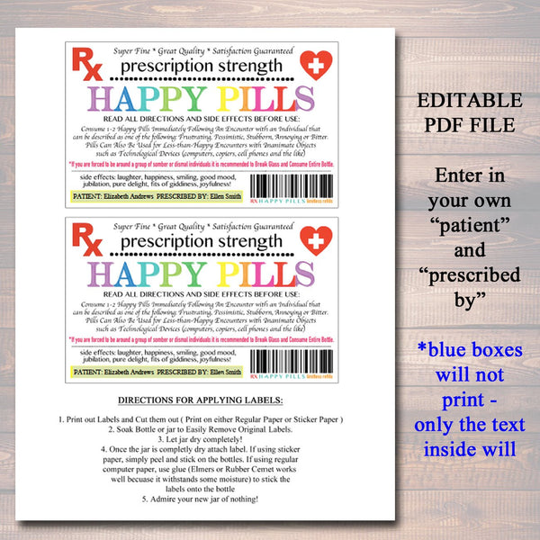 photograph relating to Printable Chill Pill Label identify EDITABLE Delighted Drugs Label, Amusing Gag Present Proficient