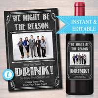 EDITABLE Employer Boss Wine Label Christmas INSTANT DOWNLOAD Birthday Gift Coworker Appreciation Printable Wine Label Gift From Office Staff